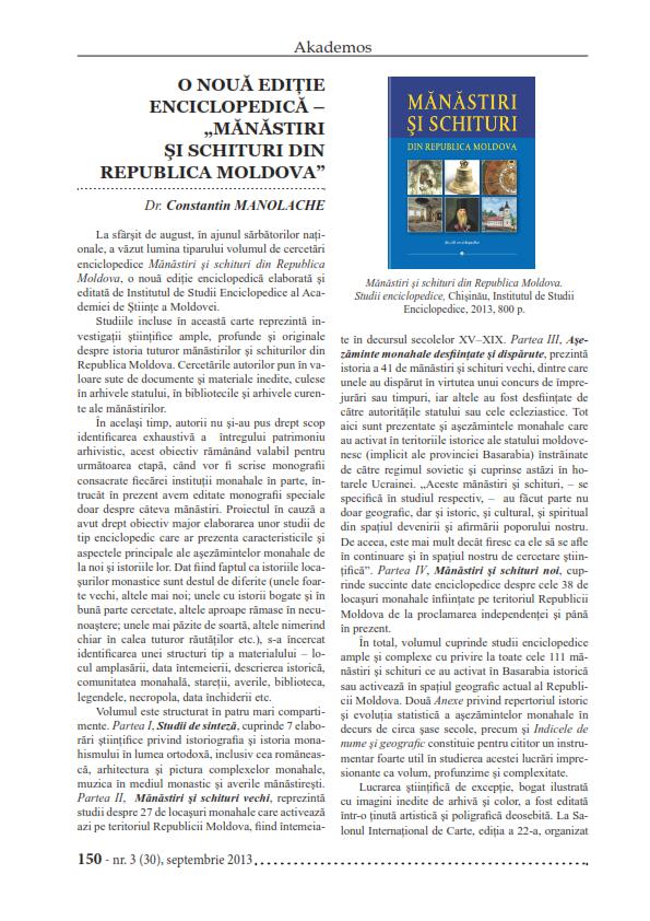 O noua editie enciclopedica_Manastiri si schituri din RM_001